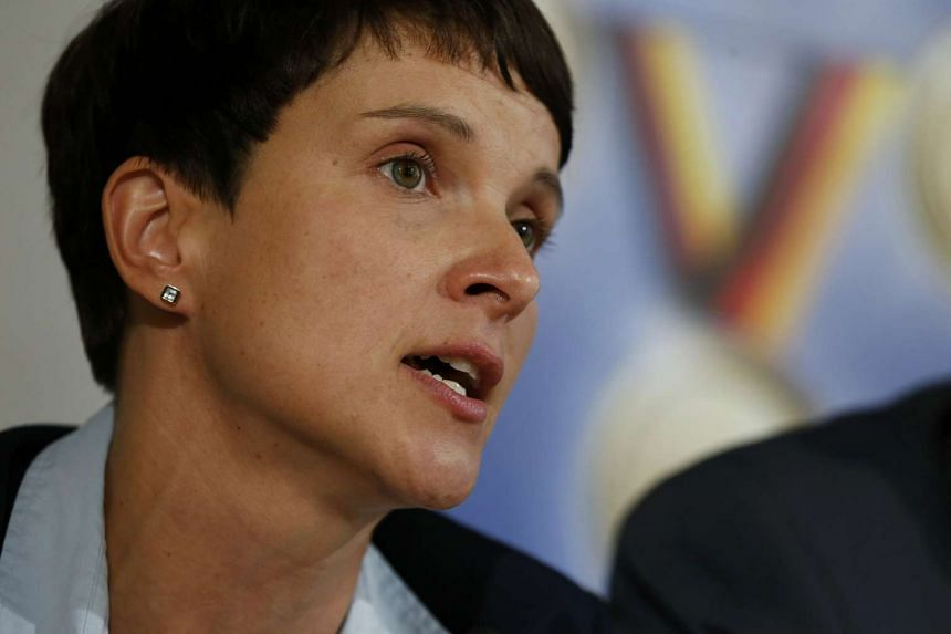 Frauke Petry speaks at a press conference in Berlin last Monday (Sept 5).