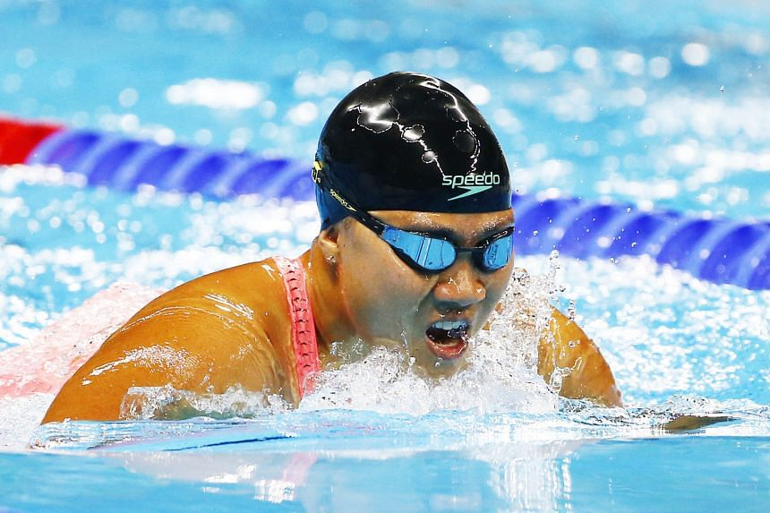 Singapore's Theresa Goh competing in the 200m freestyle S5 heats on Thursday. She used that race to gear up for her pet event – the 100m breaststroke SB4. She qualified for that final in second place yesterday.