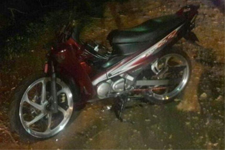 One of the motorcycles involved in the crash.