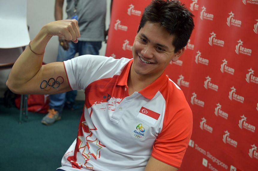 Olympic gold medalist swimmer Joseph Schooling hosting a meet-and-greet session with national aquatic athletes at the OCBC Aquatic Centre on Aug 16.