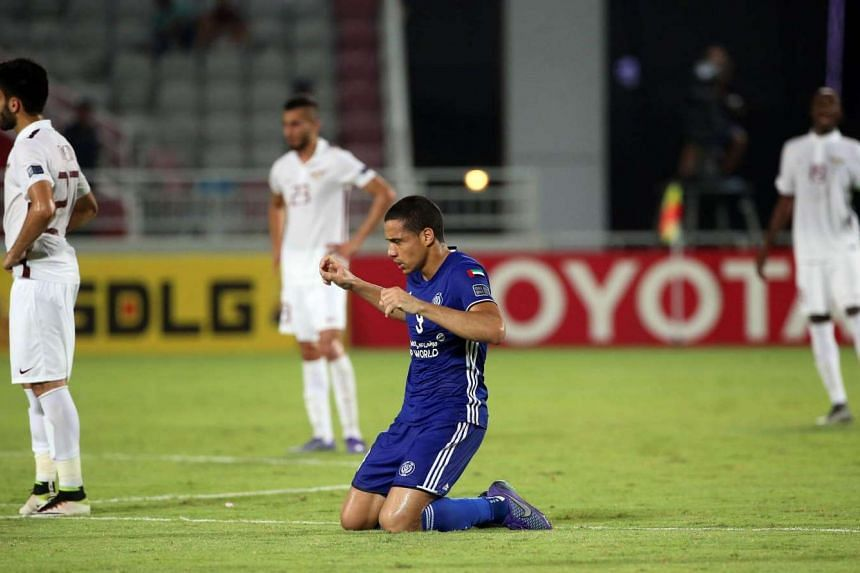 Al-Nasr's forward Wanderley (centre) celebrates his opening goal during the Asian Champions League quarter-final football match between Qatar's El-Jaish and UAE's Al-Nasr in Doha on Aug 24, 2016.
