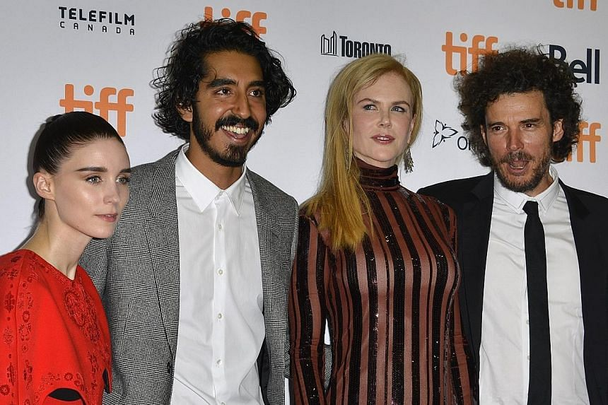 (From far left) US actress Rooney Mara, British actor Dev Patel, Australian actress Nicole Kidman and Australian director Garth Davis at the screening of Lion during the 41st annual Toronto International Film Festival last Saturday.