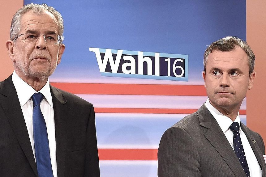 Austrian presidential candidates Van der Bellen (left) and Hofer during the May polls. If Mr Hofer wins this time, he would be Europe's first far-right head of state since 1945.