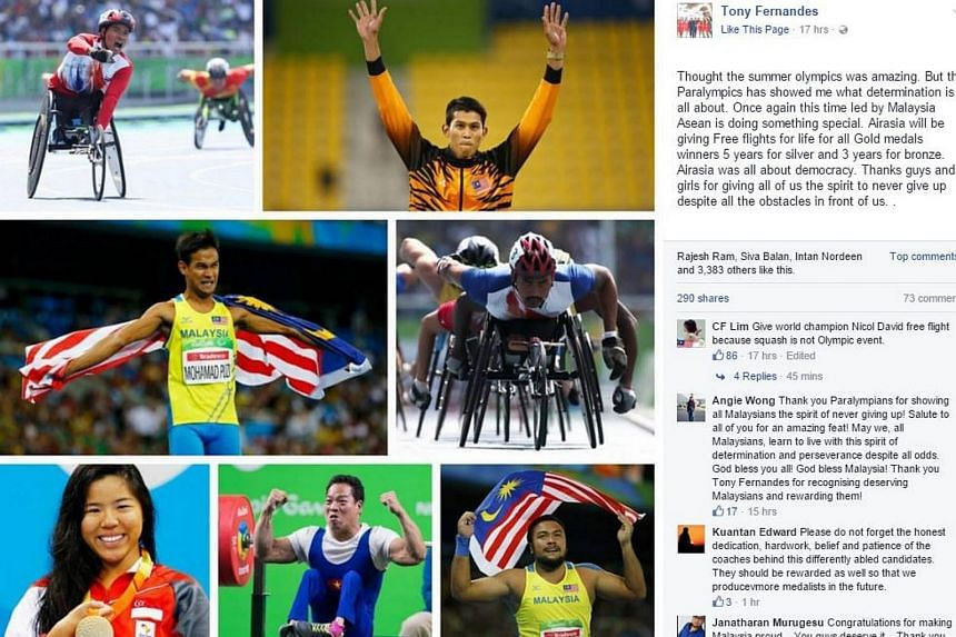 A screengrab of AirAsia CEO Tony Fernandes' Facebook post announcing the reward for Asean's Paralympic medallists.