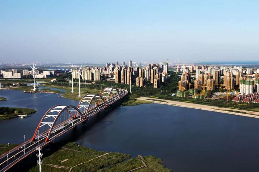 An aerial view of the Tianjin Eco-City.