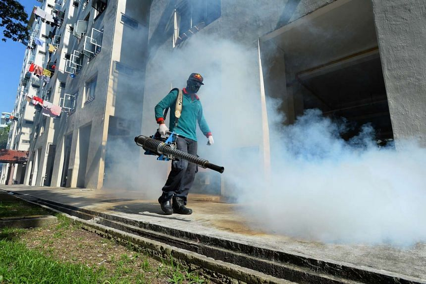 Thermal fogging being conducted along Sims Drive on Sept 4, 2016.