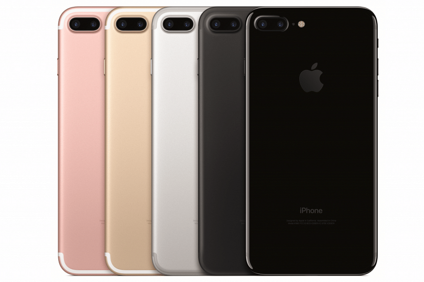 The new iPhone 7 and 7 Plus are available in (left to right): rose gold, gold, silver, matte black and glossy black.