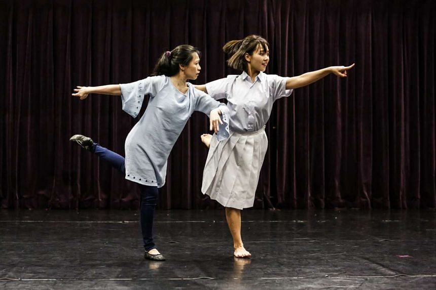 Dancer Poh Swee Hong in Yong Yoke Kay's Home, and Kit Lee (left) and Ivonn Yip (right) in Ah Sen Hok Fen's Fading Stage: Pining Dreams.