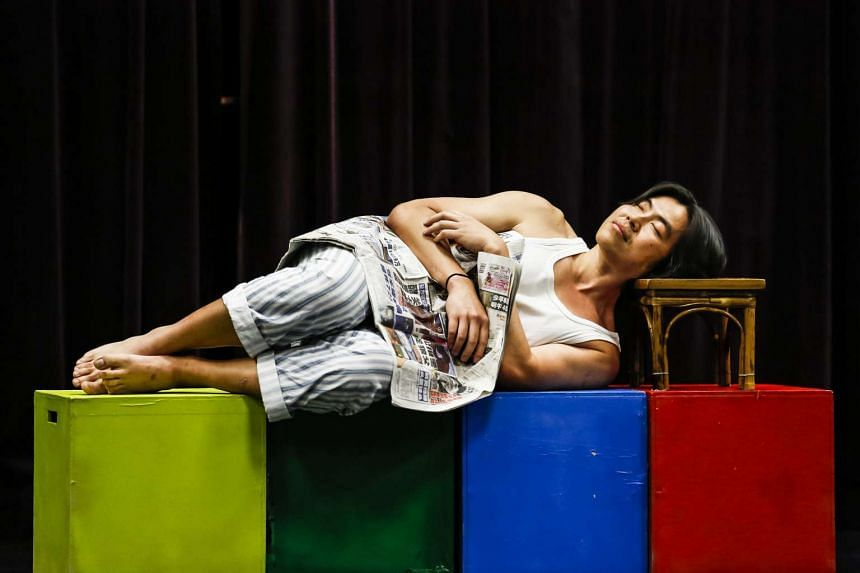 Dancer Poh Swee Hong (above) in Yong Yoke Kay's Home, and Kit Lee and Ivonn Yip in Ah Sen Hok Fen's Fading Stage: Pining Dreams.