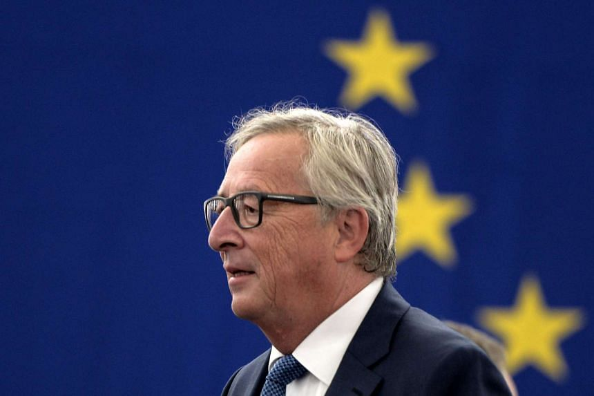 EC President Jean-Claude Juncker arriving to make his State of the Union address to the European Parliament in Strasbourg, eastern France, on Sept 14, 2016.