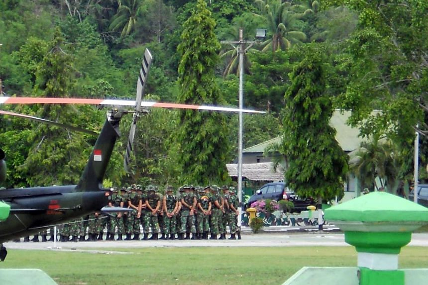 Indonesian troops arriving in Poso, Central Sulawesi, to join the hunt for Santoso, the leader of the East Indonesia Mujahidin terrorist group on Jan 25, 2016.  Indonesian security forces on Wednesday (Sept 14) captured a senior member of an Islamic