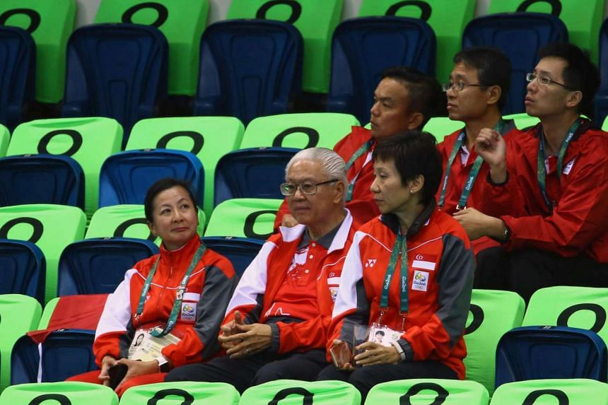 Minister for Culture, Community and Youth Grace Fu with President Tony Tan Keng Yam at the Olympics in Rio de Janeiro, on Aug 12.