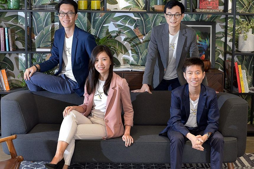 Intelllex was set up by lawyers (back row, from left) Mr Chang and Mr Koh, together with (front row, from left) Ms Ng, formerly from the PMO's Public Service Division and Ms Li, former chief operating officer of an IT start-up. The website has helped