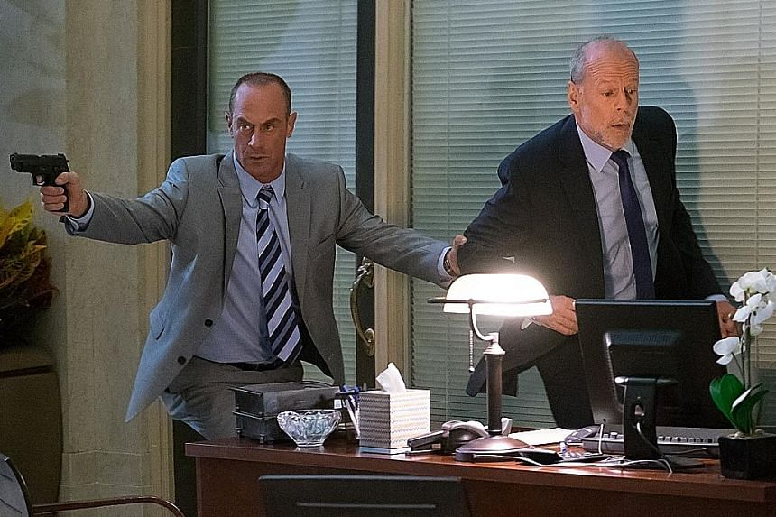 Christopher Meloni (left, with Bruce Willis), known for his role in Law & Order: Special Victims Unit, plays another cop in Marauders.