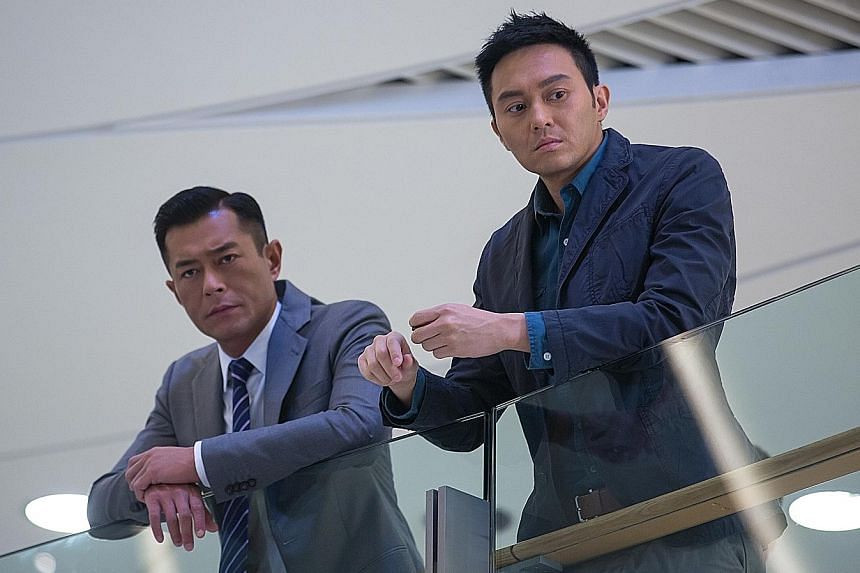 Louis Koo (far left) and Julian Cheung play cops who must work together despite their differences.