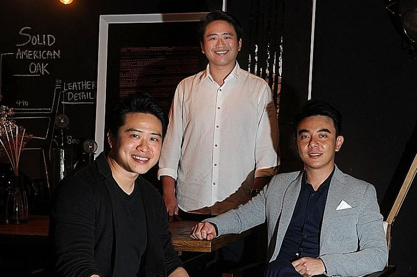(From left) Brothers Julian Koh, 31, and Joshua Koh, 33, and their cousin Gan Shee Wen, 37, are behind Commune. Besides its four shops here, the firm has 35 outlets in China, three in Malaysia and a brand presence in Australia.