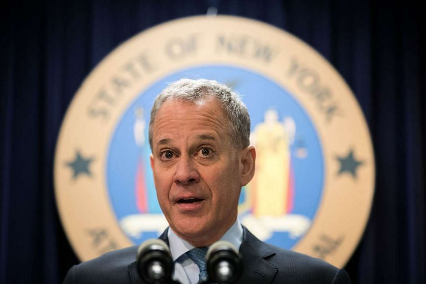 New York Attorney-General Eric Schneiderman speaks during a press conference.