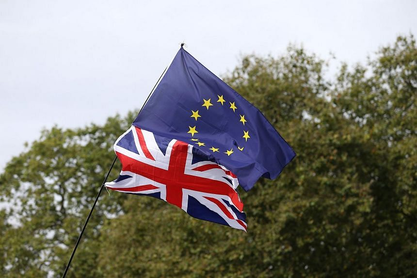 A Union flag topped with an EU flag is pictured ahead of a March for Europe protest against the Brexit vote in London on Sept 3, 2016.