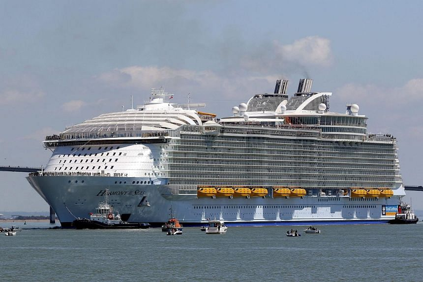 Cruise ship Harmony of the Seas leaving the port of St. Nazaire, France, on May 15, 2016.