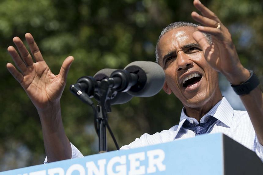 US President Barack Obama speaks during a rally for Democratic presidential nominee Hillary Clinton at Eakins Oval in Philadelphia.