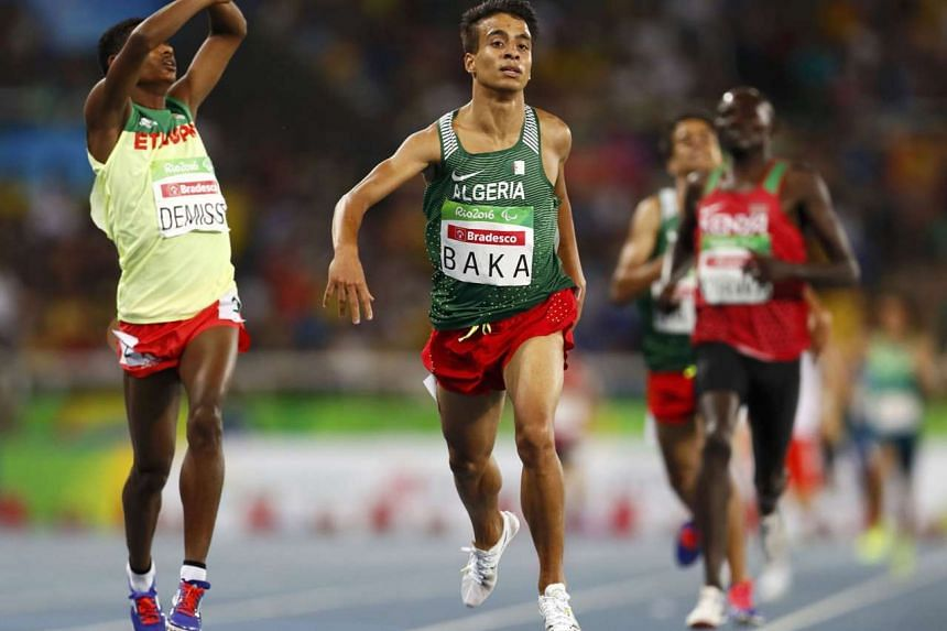 Abdellatif Baka of Algeria winning the 1,500m T13 category for visually impaired athletes. The top four runners all had a better time than the 3:50.00 clocked by the United States' Matthew Centrowitz to win the same event at the Rio Olympics on the same t