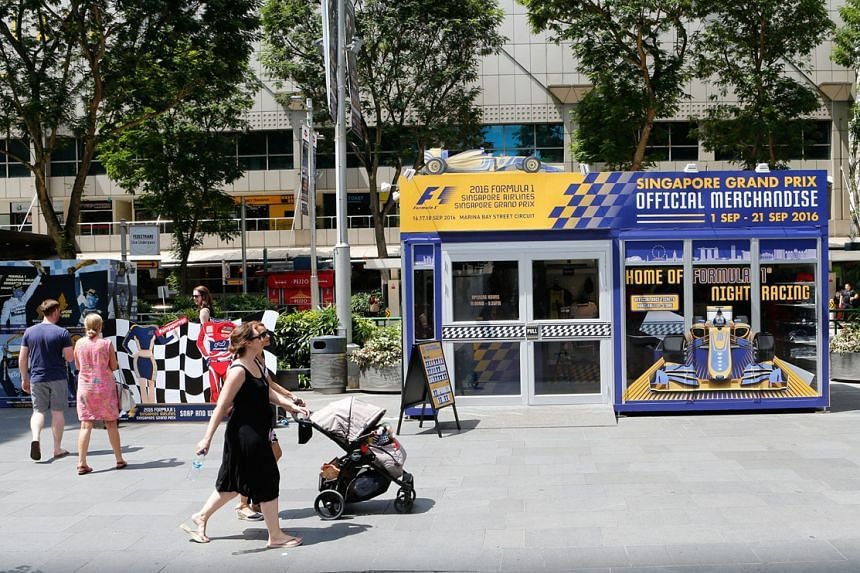 The Pit Stop @ Orchard, located between Wisma Atria and Takashimaya, sells Singapore GP merchandise.