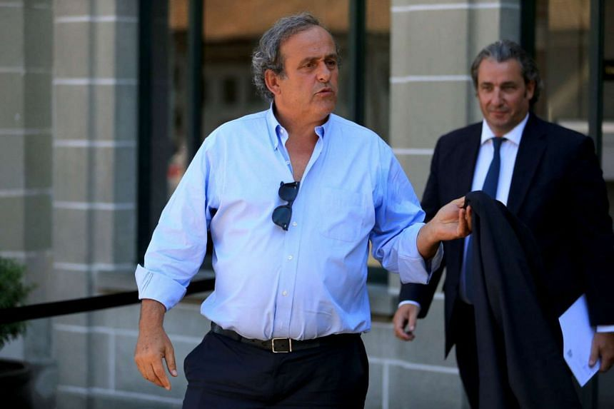 Former Uefa president Michel Platini leaving the Court of Arbitration for Sport (CAS) in Lausanne, Switzerland on Aug 25. The three-time European footballer will address the Uefa Congress in Athens today, despite being banned for four years from all footb