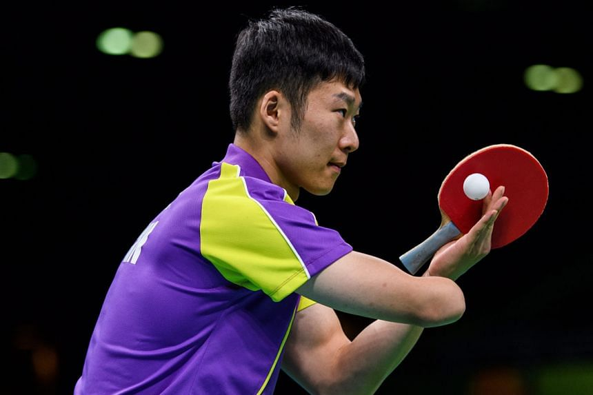 China's Yang Ge prepares to serve in the men's table tennis singles class 10 final against Patryk Chojnowski of Poland. He came from 1-2 down to win gold.
