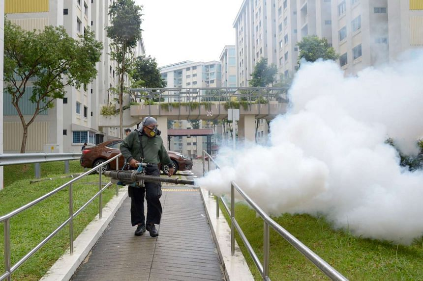 Fogging being done in Bishan Street 12 - a Zika cluster - last Wednesday. Mr Masagos yesterday listed three reasons why routine fogging should not be used as a preventive measure outside clusters.