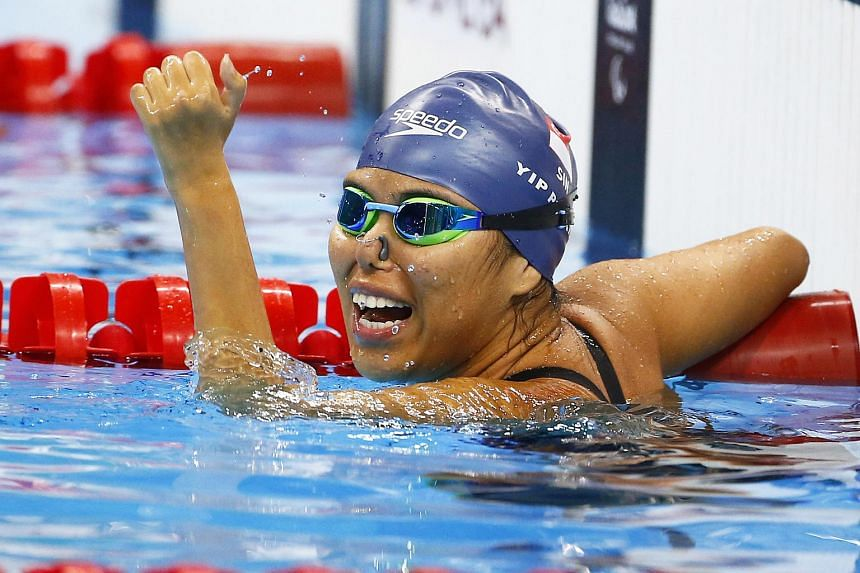 Singapore's Yip Pin Xiu celebrating winning the gold at the women's 100m backstroke S2 final at the Rio Paralympic Games, on Sept 9, 2016.