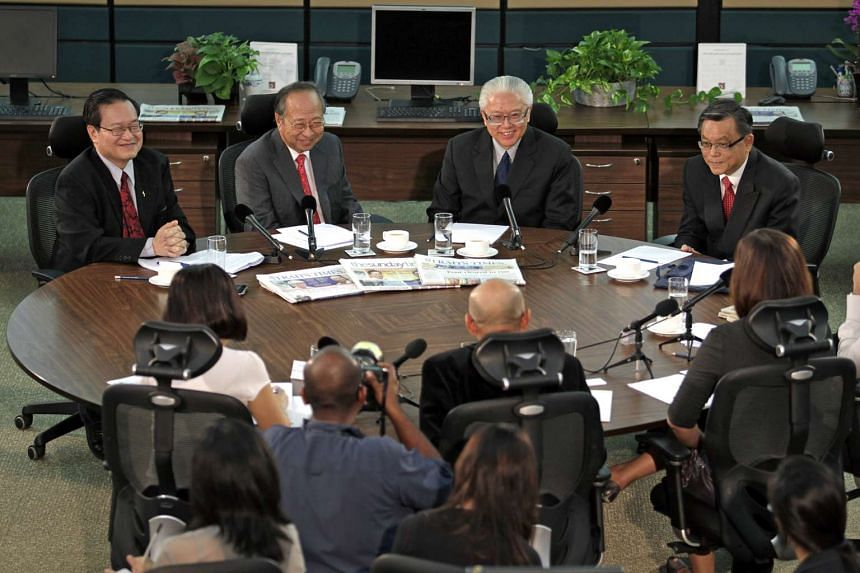 The Singapore's presidential candidates, (from left) Mr Tan Kin Lian, Dr Tan Cheng Bock, Dr Tony Tan and Mr Tan Jee Say at the Straits Times roundtable discussion on Aug 16, 2011.