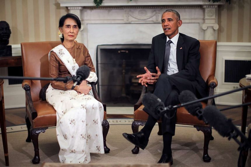 US President Barack Obama talks to the media as he meets with Myanmar's State Counsellor Aung San Suu Kyi at the Oval Office of the White House in Washington, DC, on Sept 14.
