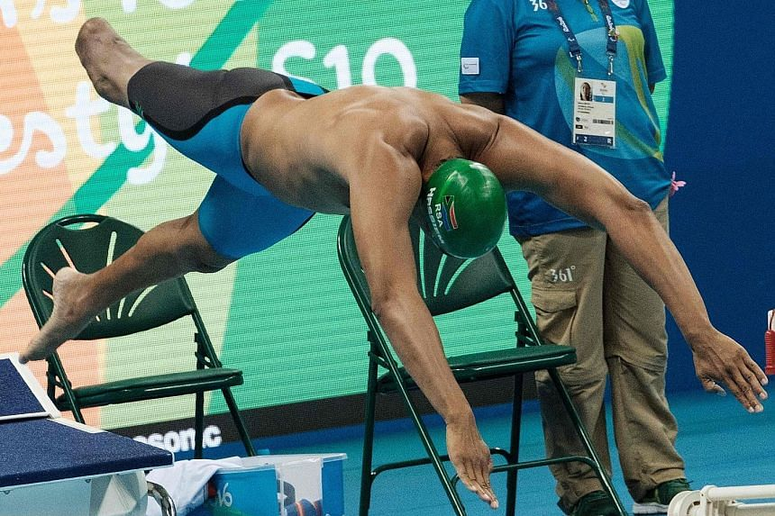 Paralympian Hassiem competing during the heats of the men's 100m freestyle (S10). He lost his leg to a shark 10 years ago.