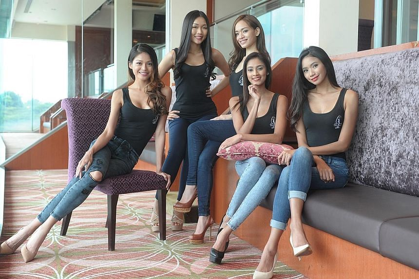 The finalists in this year's Miss Singapore Universe pageant include (from left) online entrepreneur Patricia Eng, data analyst Hazel Tay, trainee lawyer Nikki Tay, model Pooja Gill and Temasek Polytechnic student Tanisha Lissa Khan.