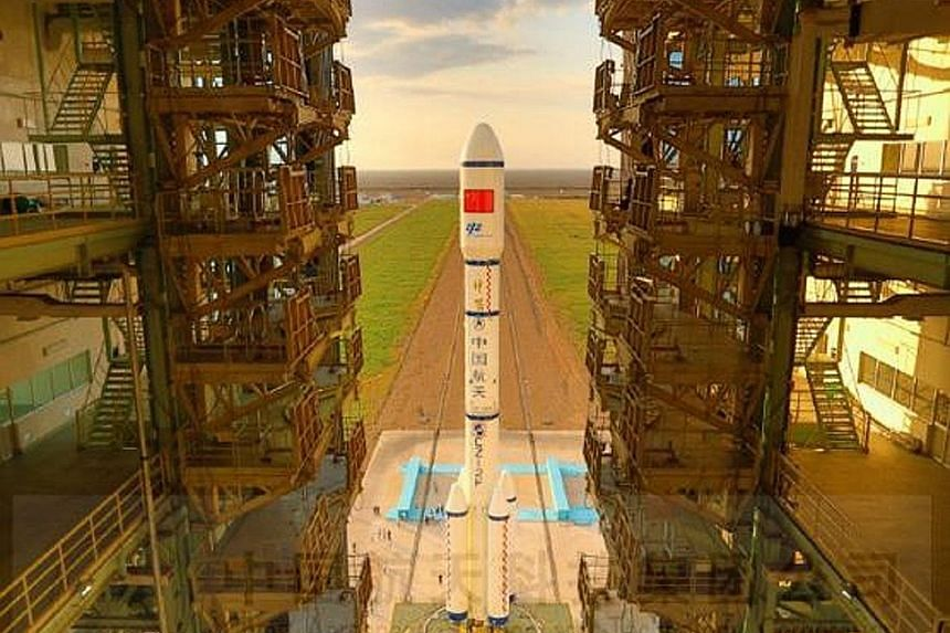 China's space lab Tiangong 2 and its carrier rocket, Long March 2F, were transferred to the launch pad at the Jiuquan Satellite Launch Centre in Gansu last Friday. The launch will take place after 10pm today.