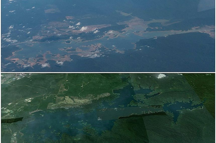 Top: An aerial photo of Linggiu Reservoir in Johor, which was only 25 per cent full two weeks ago. Above: The reservoir when full.