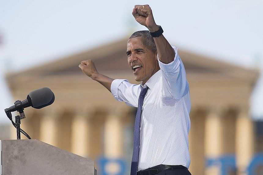 Mr Obama, hoping to capitalise on his high job approval ratings, speaking at a rally for Democratic presidential nominee Hillary Clinton in Philadelphia on Tuesday.