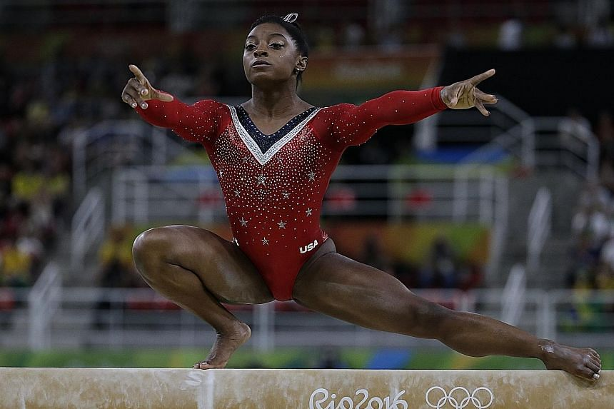 Simone Biles executing her bronze-medal winning routine on the balance beam in Rio last month. The star American gymnast, who won four golds at the Olympics, reiterated that she has always believed in clean sport.