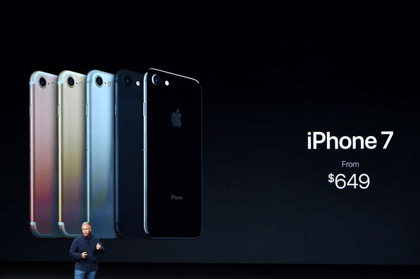 Apple's senior vice-president of worldwide marketing Phil Schiller speaks during the unveiling of the iPhone 7 at Bill Graham Civic Auditorium in San Francisco, California, on Sept 7.