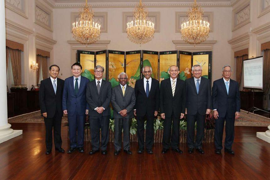 The Council of Presidential Advisers (from left): Mr Stephen Lee, Mr Lee Tzu Yang, Mr Goh Joon Seng, Mr S Dhanabalan, Mr J Y Pillay, Mr Po'ad Mattar, Mr Bobby Chin and Mr Lim Chee Onn.