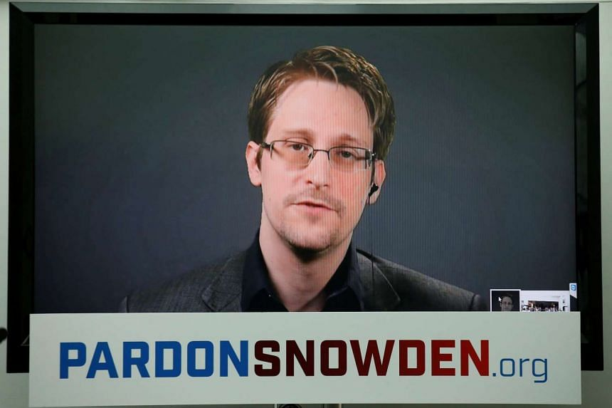 Edward Snowden speaks via video link during a news conference in New York on Sept 14, 2016.