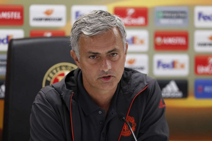 Jose Mourinho during a Manchester United Press Conference at De Kuip Stadium in Rotterdam, Netherlands on Sept 14, 2016.