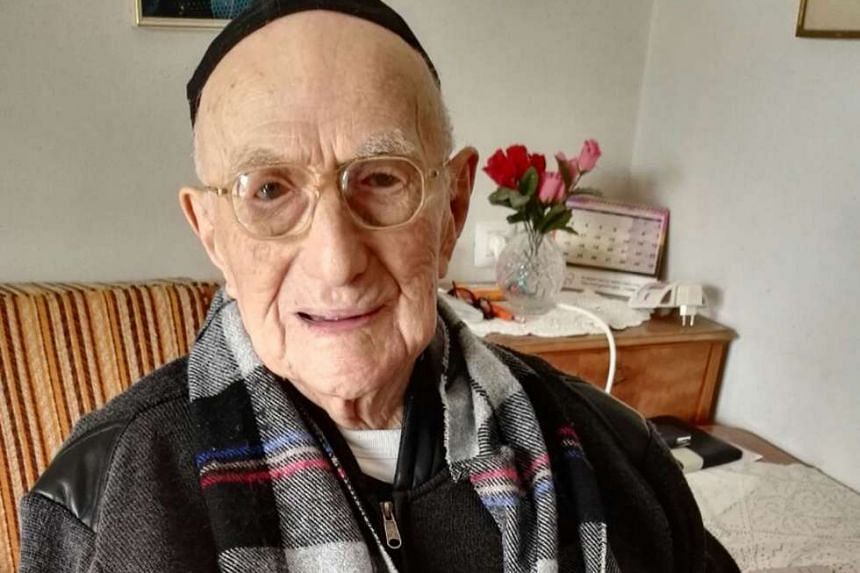 A file photo of the world's oldest man, Yisrael Kristal, at his home in Israel's Haifa on Jan 21, 2016.