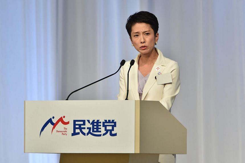 Renho delivers a speech following the Democratic Party's leadership election in Tokyo on Sept 15, 2016.