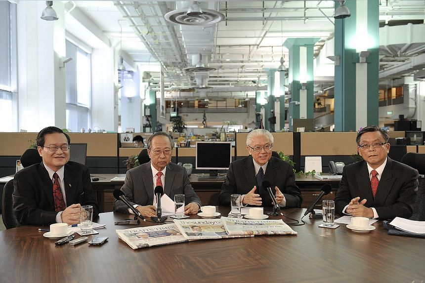 (From left) Mr Tan Kin Lian, Dr Tan Cheng Bock, Dr Tony Tan and Mr Tan Jee Say at the Straits Times roundtable discussion in the ST newsroom on Aug 16, 2011.