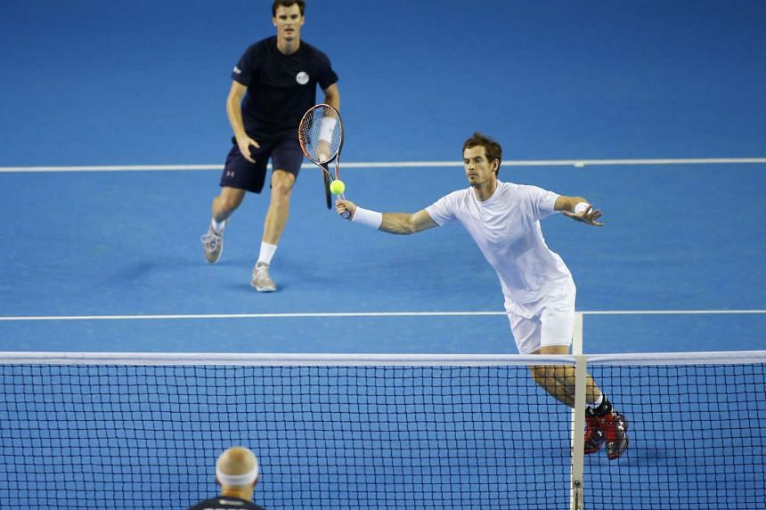 Great Britain's Andy Murray (right) and Jamie Murray during practice.