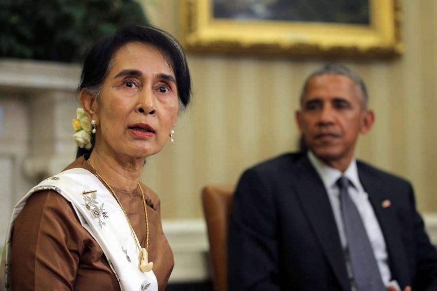 Suu Kyi meets Obama in the Oval Office of the White House in Washington on Sept 14, 2016.