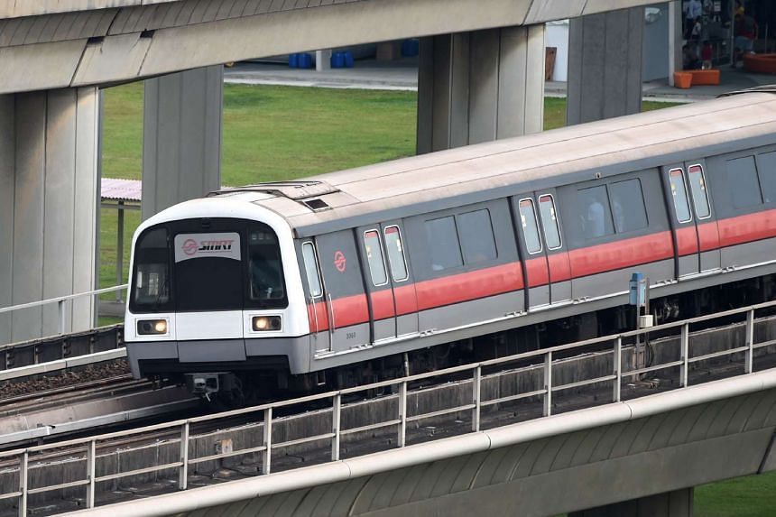 A SMRT train travelling from Jurong East interchange.
