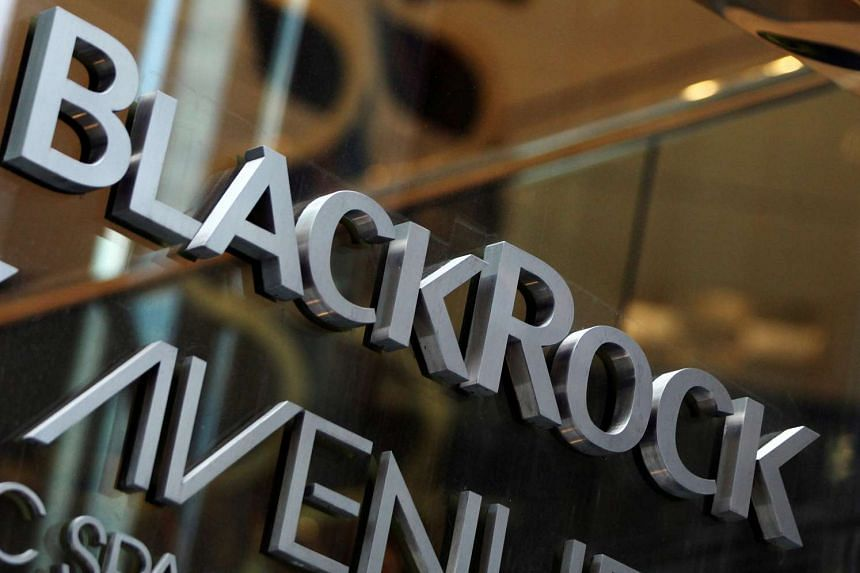 The BlackRock logo is seen outside of its offices in New York.