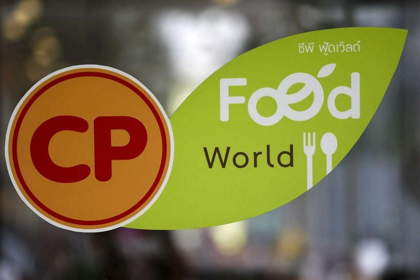 The logo of Charoen Pokphand Foods is pictured at a food hall in Bangkok, Thailand.